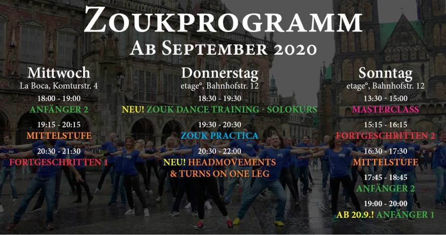 Zouk Programm in Bremen ab September 2020
