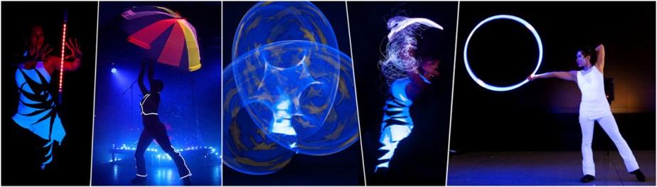 Dancing Lights - Lichtshow mit LED- und Elektrolumineszenz-Requisiten - Artistik, Tanz, Jonglage, Hula Hoop, Poi u.a. Licht-Spielgeräten von Tanzlicht K - Tanz, Lichtshows und Feuerartistik aus Frankfurt am Main