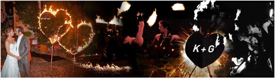 LE GRAND FLAMOUR - Die Hochzeits-Feuershow - Feuertanz, Feuerjonglage, Feuerrequisiten wie Hula Hoop, Poi, Fächer, Seile, Stäbe, Feuereffekte und romantische Feuer-Specials extra für Ihre Hochzeit, wie Feuer-Herz, Feuerblumenstrauß, Feuerbilder, Funken- und andere Feuereffekte
