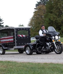 """""""Remembering the Ride"""" Motorcycle Drawn Hearse"""
