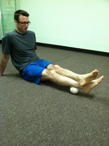 Use a soft ball to perform self-trigger point therapy. For plantar fasciitis treatment.