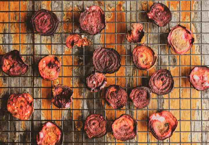 beet chips on wire cooling rack