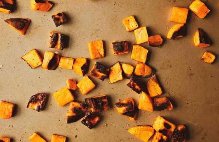 roasted sweet potatoes on baking sheet