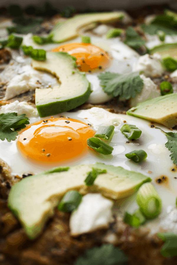 close up of huevos rancheros casserole