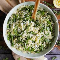 Lemon Orzo Salad w/  Asparagus, Arugula, & Feta