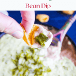 Pinterest graphic for hatch chile queso bean dip.