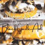 Mushroom and Swiss burgers with black garlic aioli Pinterest graphic.