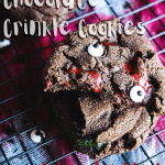 Pinterest graphic for double chocolate crinkle cookies w/ zombie blood.