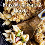 Pinterest graphic for mac and cheese w/ Brussels sprouts and bacon.