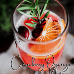 Pinterest graphic for cranberry orange mimosa with rosemary.