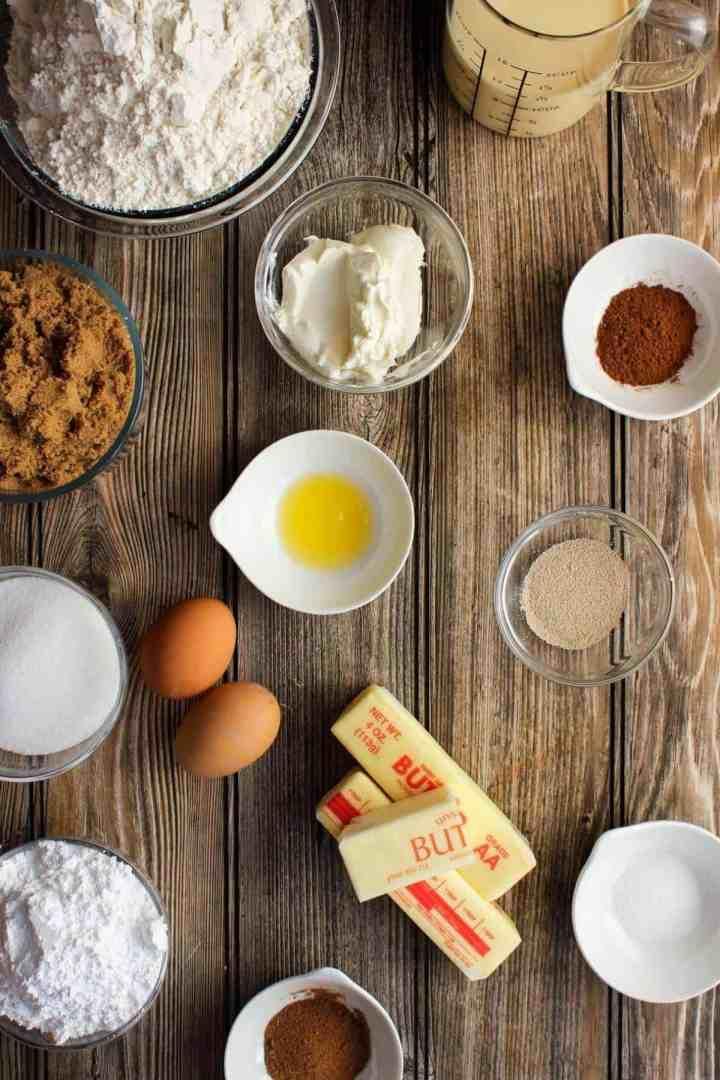 Ingredients for eggnog cinnamon rolls (see recipe card).