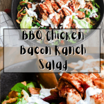 Pinterest graphic for bbq chicken bacon ranch salad.