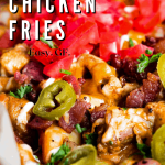 Pinterest graphic for buffalo chicken fries.
