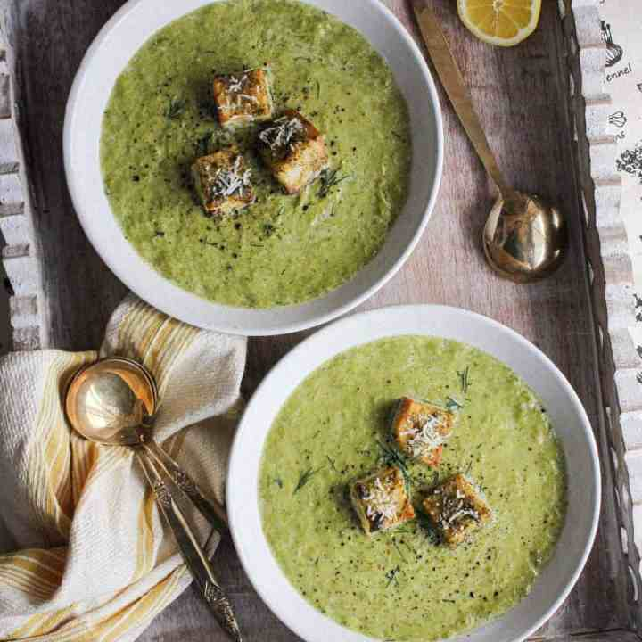 Asparagus Leek Soup w/ Sourdough Garlic Bread Croutons
