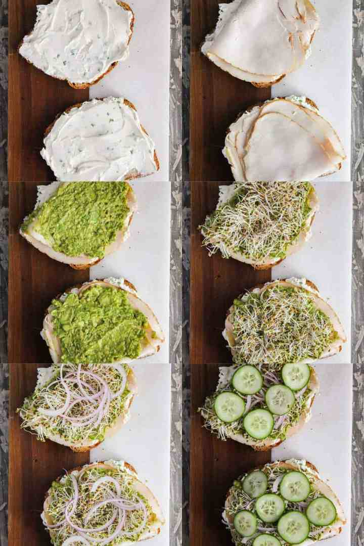Six stages of sandwich assembly.