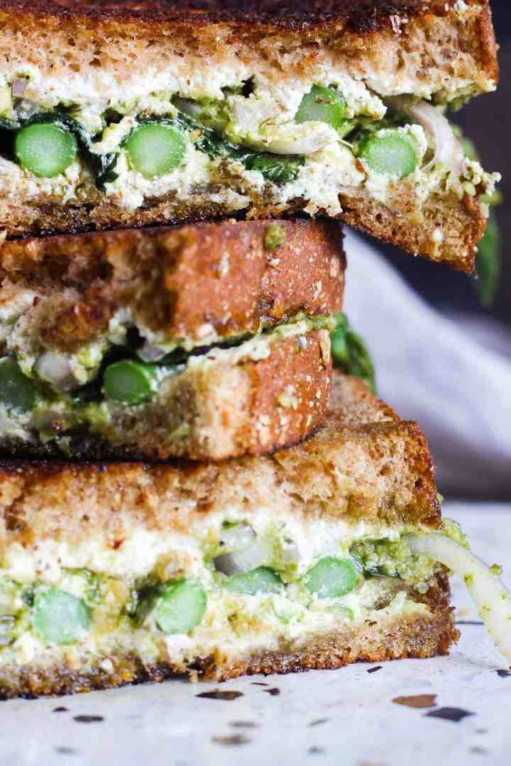 Close up of stack of sandwiches.