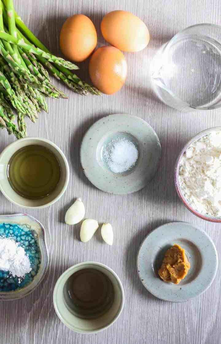Ingredients for asparagus tempura with miso aioli (see recipe card).