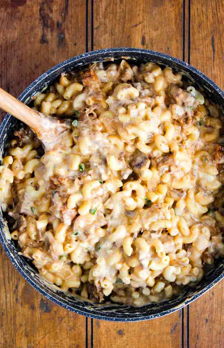 Mac and cheese in a pot.