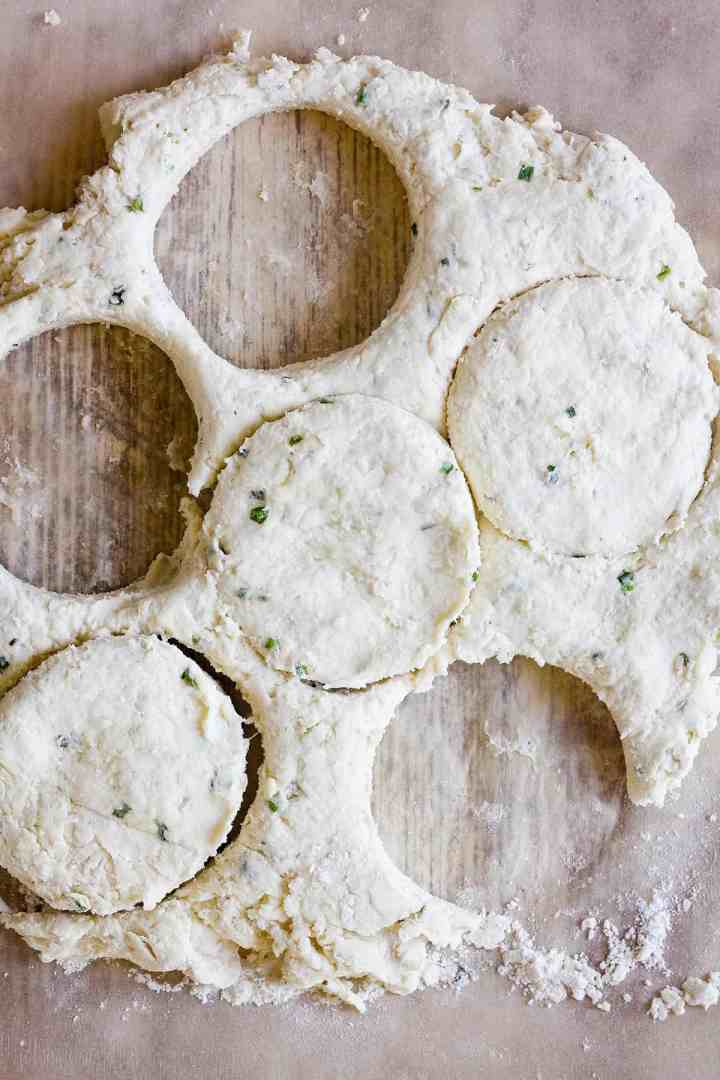 Rolled out dough with cut out biscuits.