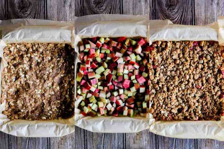 Construction of rhubarb oatmeal bars in three stages.