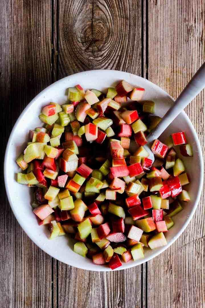 Diced rhubarb in a bowl.