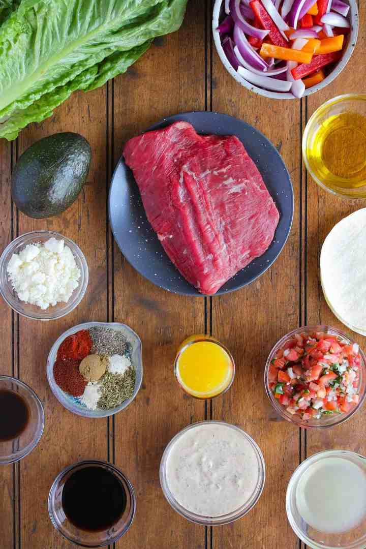 Ingredients for fajita taco salad (see recipe card).