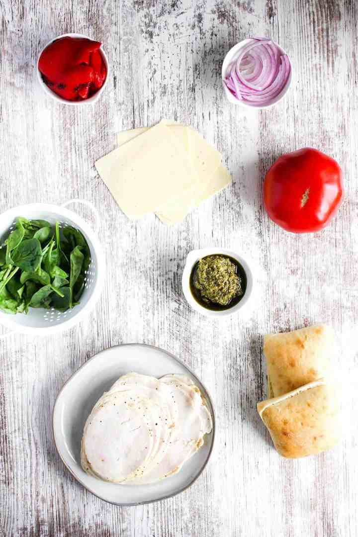 Ingredients for turkey pesto sandwich (see recipe card).