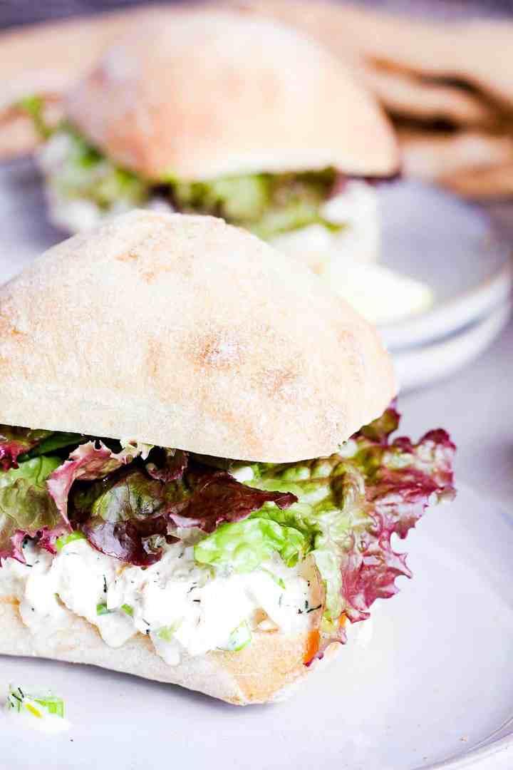 Close-up of lemon tuna salad sandwich.
