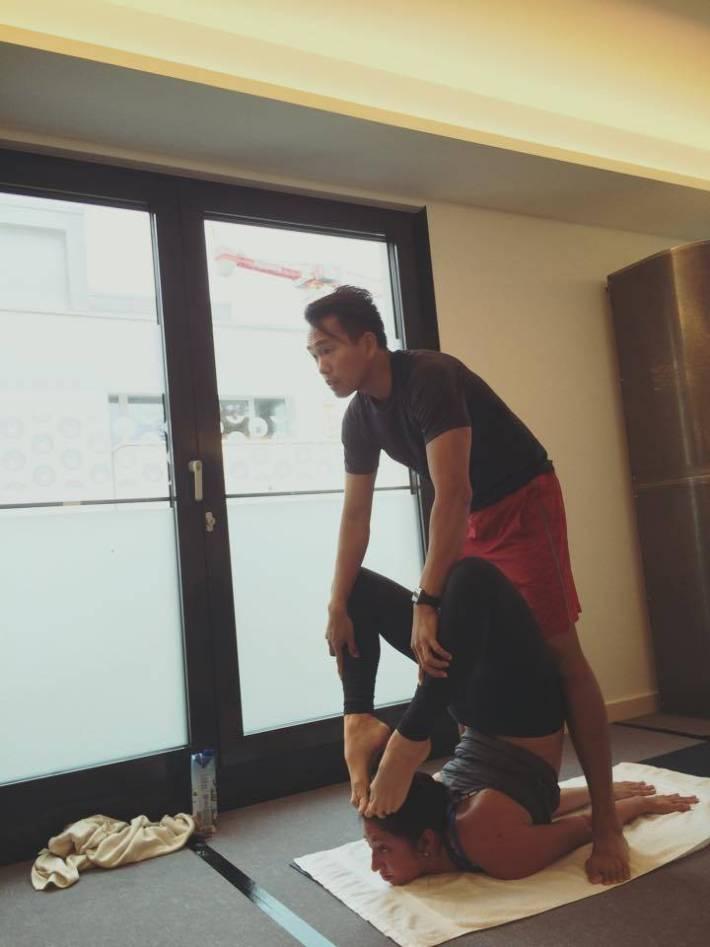 Scorpion Pose - Ky and Ananda - Bikram Yoga Workshop