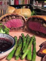 Beef Wellington with mushrooms and chestnuts
