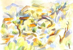 "Andrew Dasburg, Mountains, Watercolor, Circa 1932, 14"" x 21"""