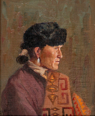 "Joseph Roy Willis, Navajo Man, Oil on Board, c. 1920, 9.75"" x 7.88"""