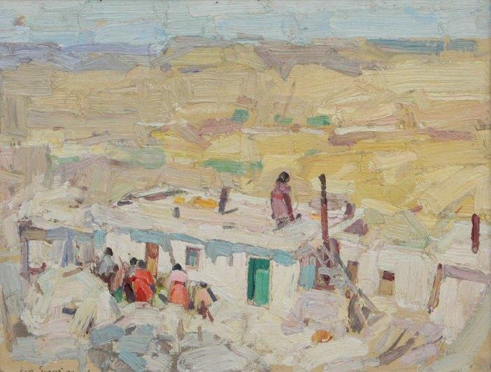 "Leon Gaspard, Walpi, Oil on Canvas Board, c. 1919, 11"" x 14"""