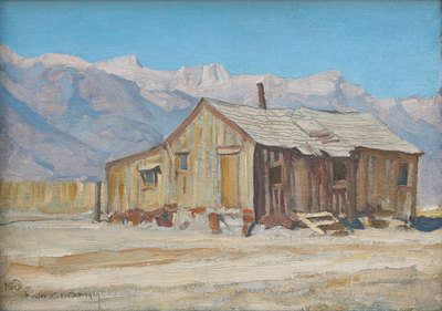 "Maynard Dixon (1875-1946) Chong Luis Ranch, Reeler, CA, 1919, Oil on Board, 10"" x 14"""