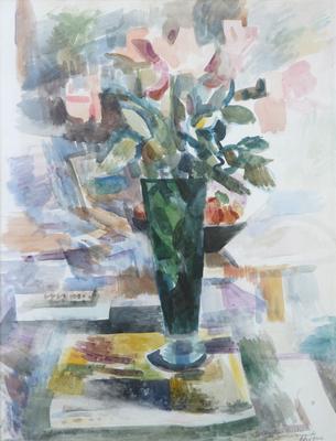 "Willard Nash, Still Life Vase with Flowers, Watercolor, 19.25"" x 14.25"""