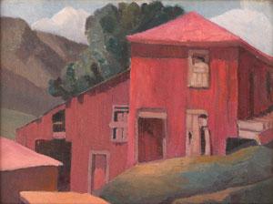 """Anna Elizabeth Keener, Red Barn, Circa 1941, Oil on Canvas Board, 12"""" x 15.5"""""""