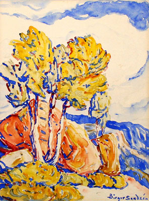 "Birger Sandzen, Aspen Colors, c. 1930, Watercolor, 12"" x 9"""