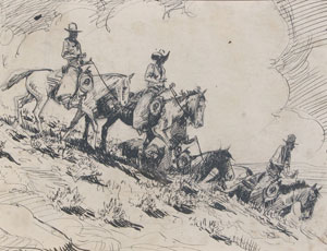 "Edward Borein, Horseman Riding in a Group, Ink on Paper, c. 1920, 7"" x 9"""