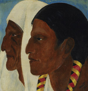 "Dorothy Brett, Taos Indians, c. 1942, Oil on panel, 8"" x 8"""