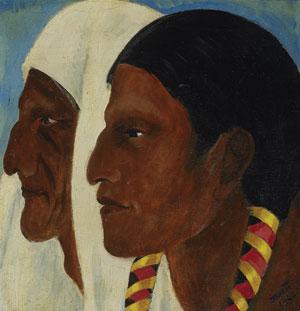 """Dorothy Brett, Taos Indians, c. 1942, Oil on panel, 8"""" x 8"""""""