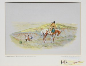 """Byron Wolfe, Comanches Watching Freemont's Men On The Canadian River, 1845, Watercolor, c. 1960, 16"""" x 20"""""""