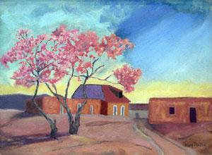 "Carl Redin, Springtime Adobes, Oil on Canvas, 11"" x 15"""