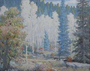 "Carl von Hassler, Aspens, c. 1932, Tempra on Board, 16"" x 20"""