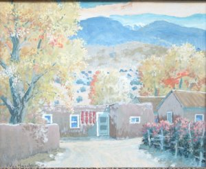 "Carl von Hassler, Autumn in the Penasco Valley, c. 1932, Oil on Panel, 14.5"" x 18.5"""