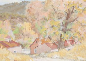 "Carl von Hassler, Autumn Splendor, c. 1930, Egg Tempera, 12"" x 16"""