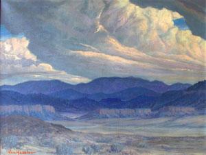 """Carl von Hassler, Left: Looking Towards Jemez, Oil on Canvas, 27"""" x 36"""""""