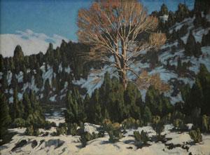 "Carl E. Woolsey, Winter Light, Oil on Canvas, c. 1920, 18"" x 24"""