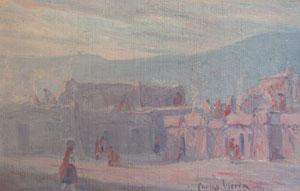 """Carlos Vierra, Pueblo Scene, Oil on Canvas Board, 8"""" x 12"""""""