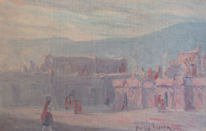 "Carlos Vierra, Pueblo Scene, Oil on Canvas Board, 8"" x 12"""