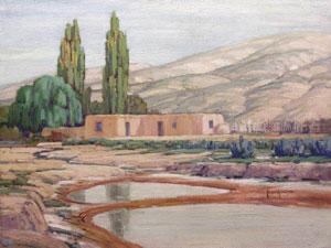 """Carlos Vierra, Ranchito Cuyamungne, Oil on Board, 1928, 18"""" x 24"""""""